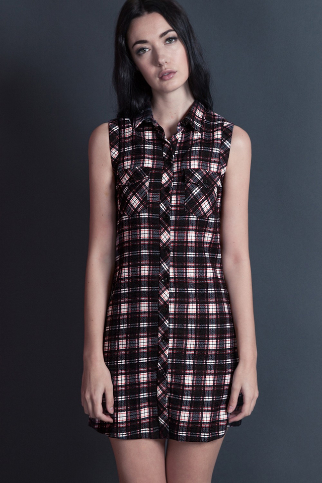 *BRIDGE* Plaid Pocket Dress in Red