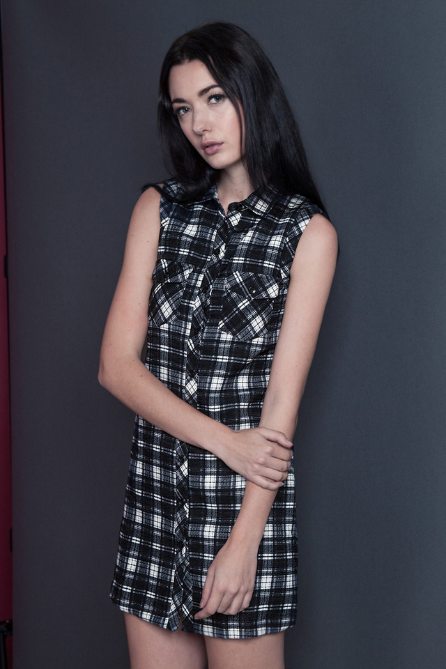 *BRIDGE* Plaid Pocket Dress in Monochrome