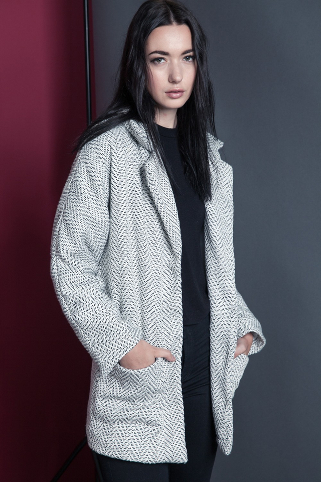 *PREMIUM**BRIDGE* Ponte Twill Coat in White