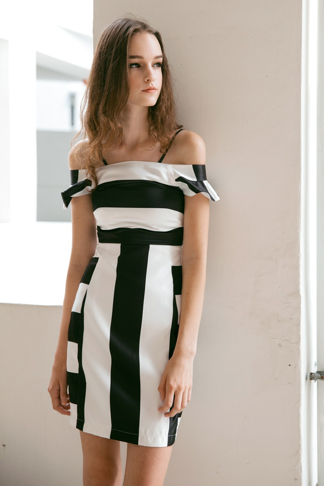 *BRIDGE* Striped Flutter Dress in Black