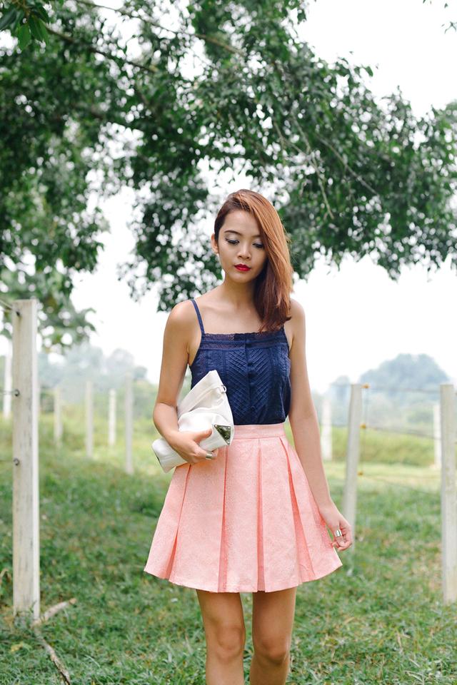 *BRIDGE* Sander Pleated Skirt in Pink