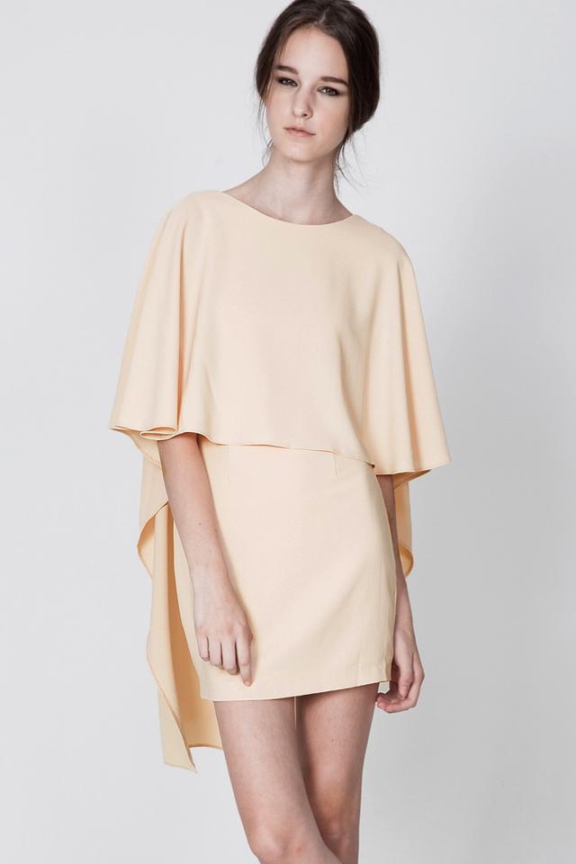 *BRIDGE* Back V Cape Dress in Cream
