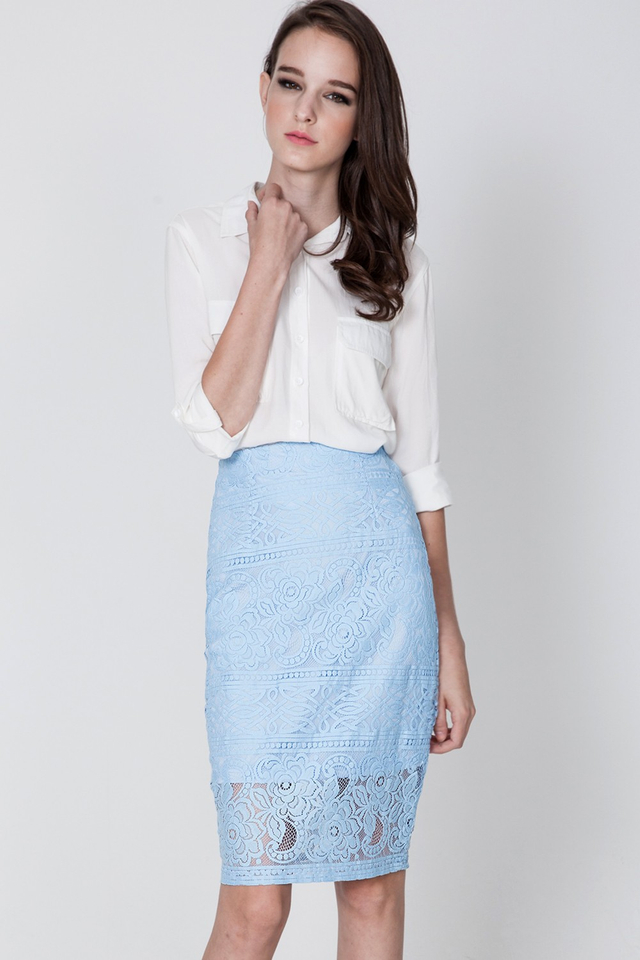 *BRIDGE* Lockhart Pencil Midi in Powder Blue