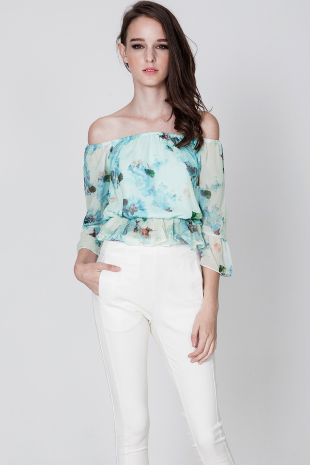 *BRIDGE* Wildest Dreams Off Shoulder Top in Blue