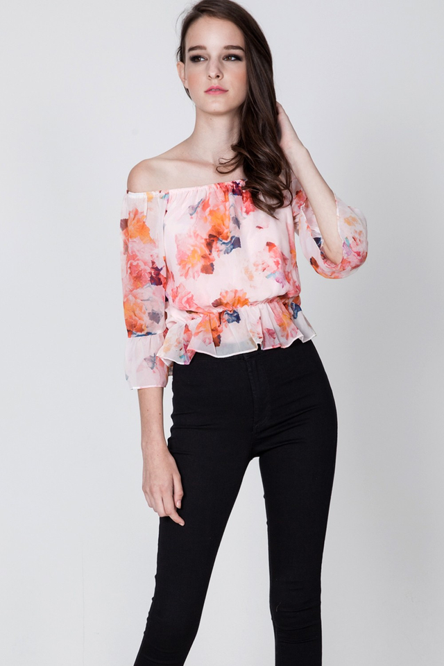 *BRIDGE* Wildest Dreams Off Shoulder Top in Pink