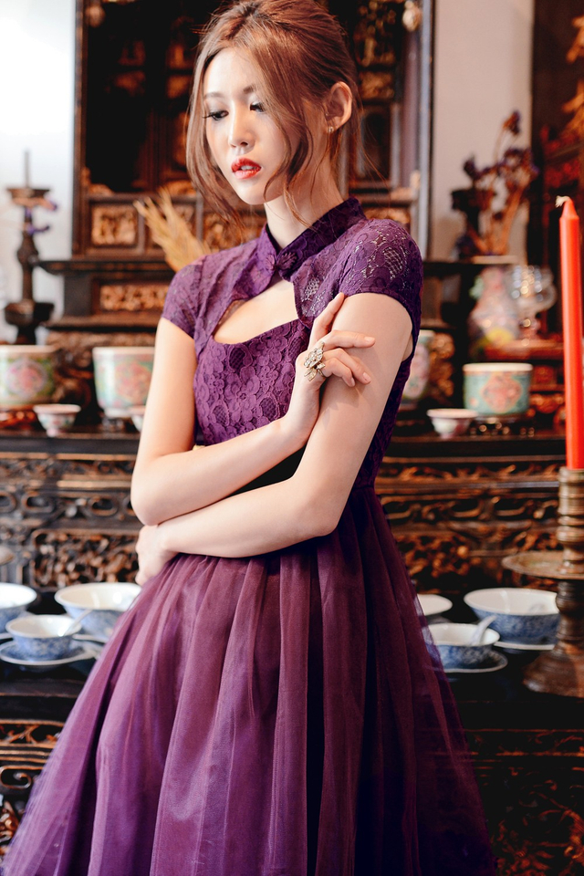 *BRIDGE* Cheongsam Tulle Dress in Plum