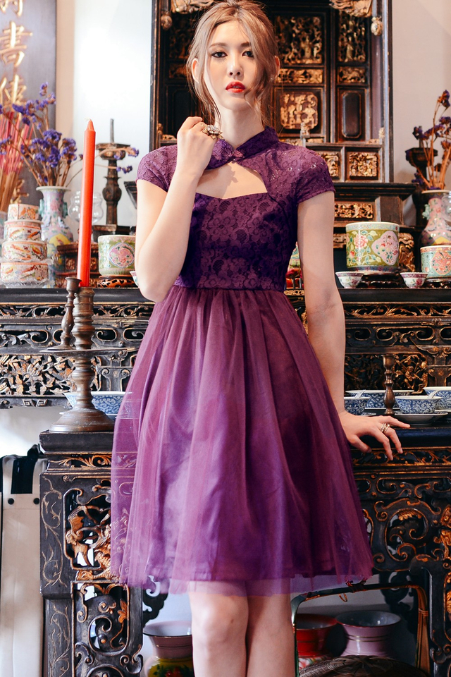 *BRIDGE* Cheongsam Tulle Dress in Plum