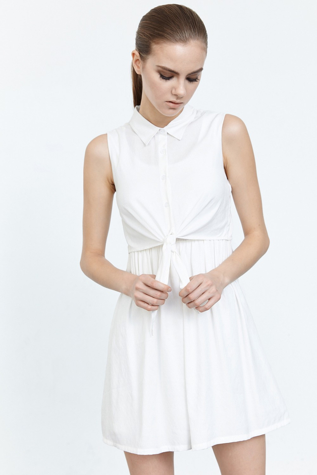 *BRIDGE* Knot It Dress in White