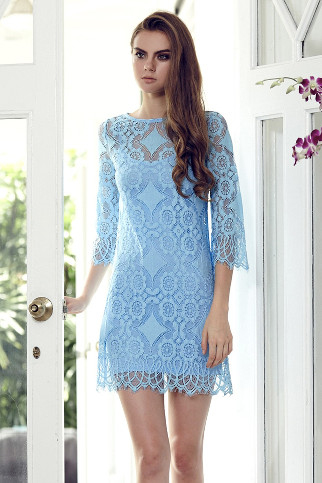 *BRIDGE* Love Lace Two-Piece Dress in Baby Blue