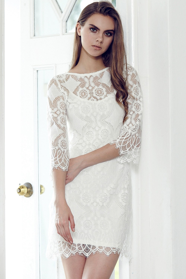 *BRIDGE* Love Lace Two-Piece Dress in White