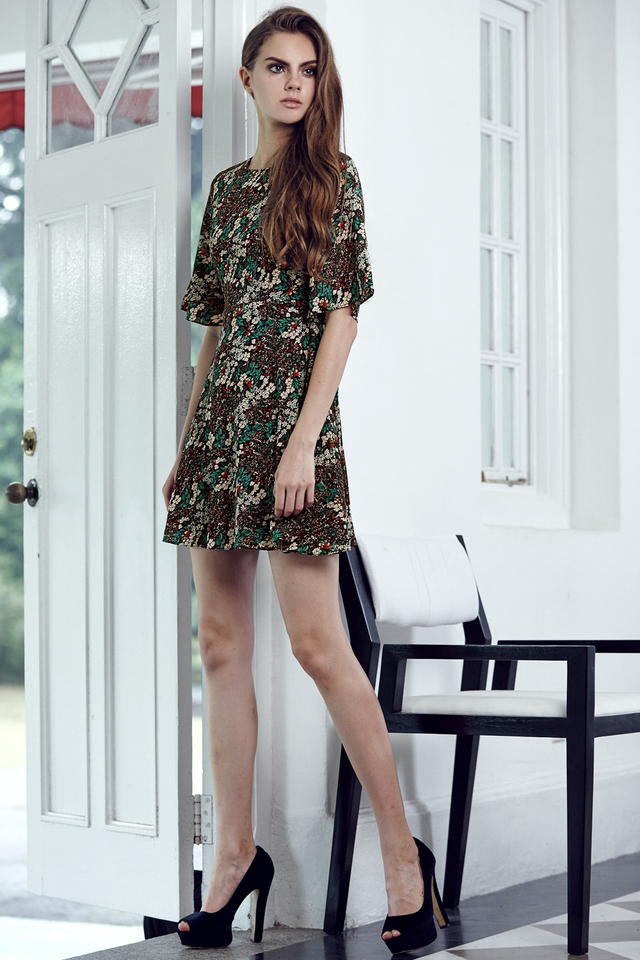 *BRIDGE* Edith Floral Dress in Red Green