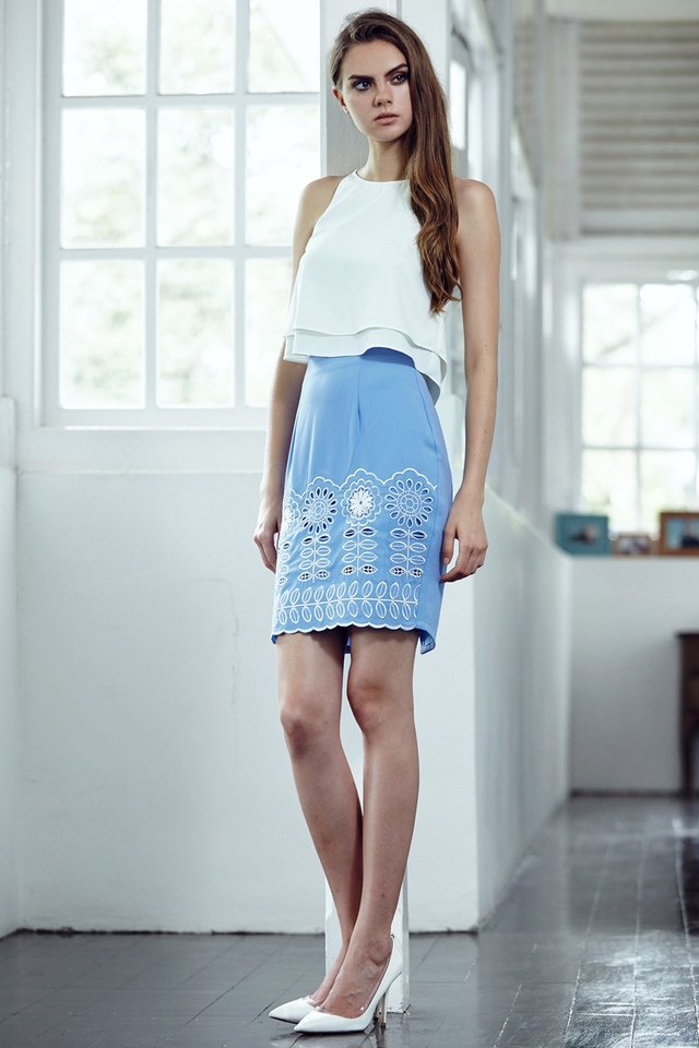 *BRIDGE* Verde Skirt in Powder Blue