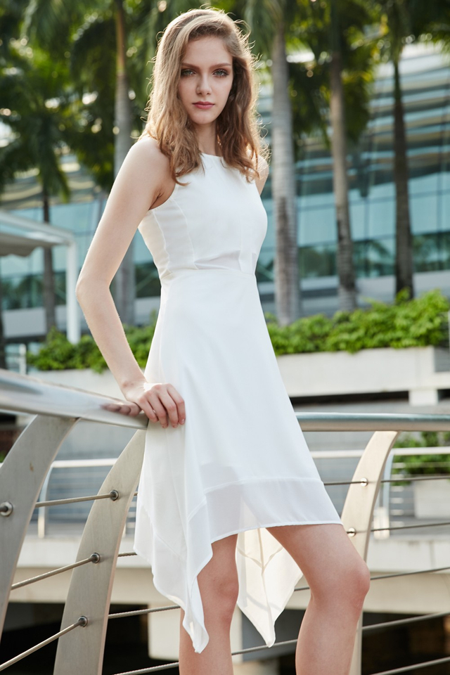 *BRIDGE* Karl Panel Dress in White