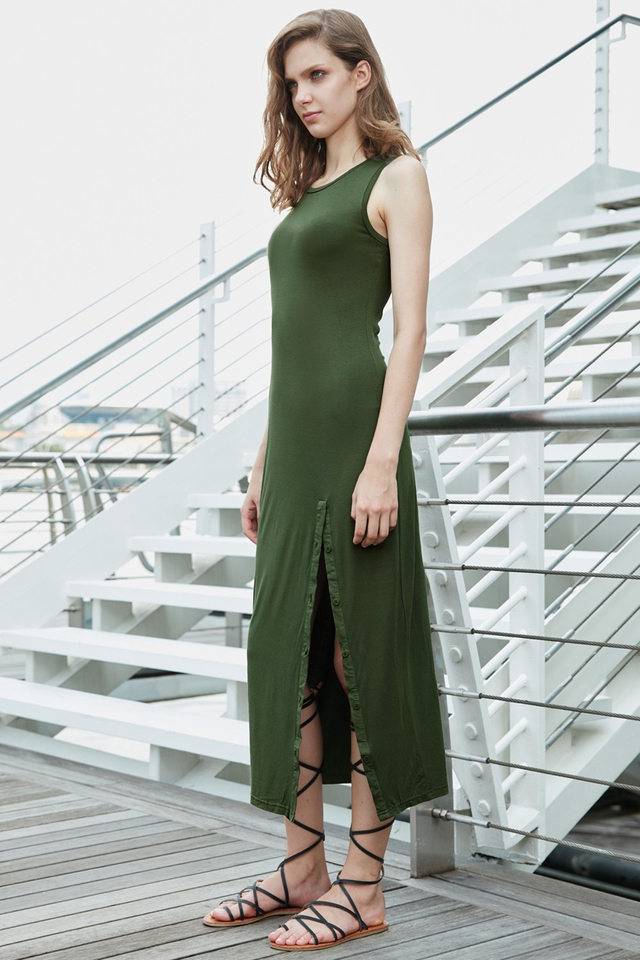 *BRIDGE* Buttoned Slit Maxi in Olive