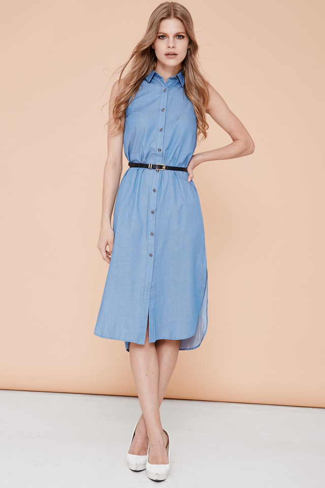 *BRIDGE* Amber Midi Dress in Mid Blue