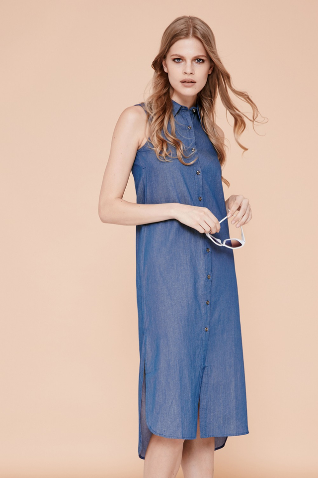 *BRIDGE* Amber Midi Dress in Dark Blue
