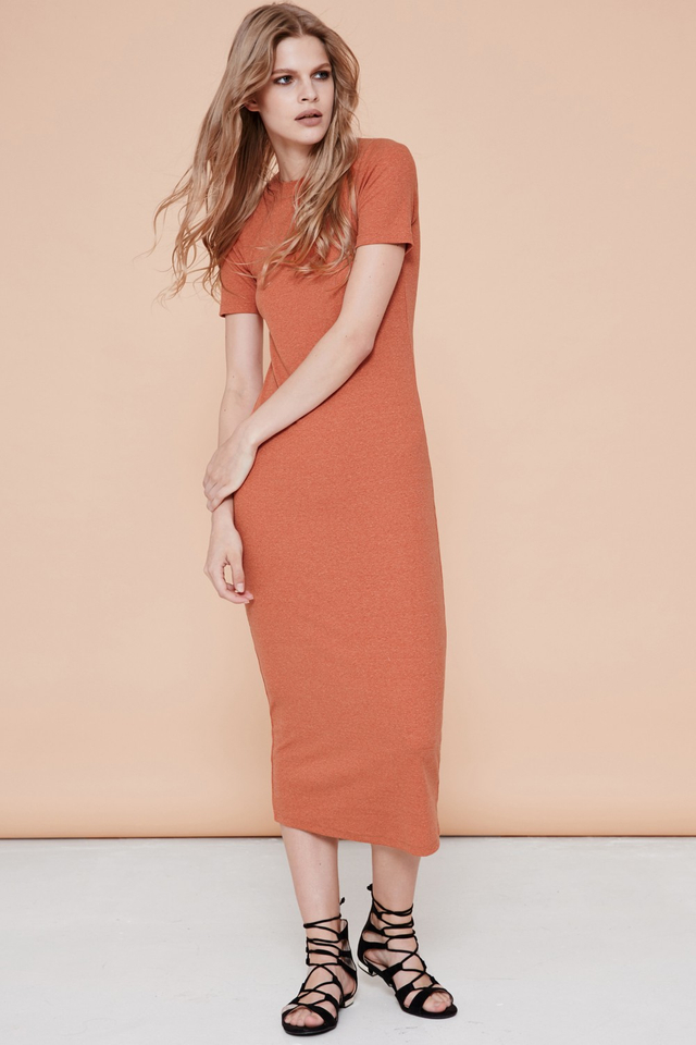 *BRIDGE* Basic Ribbed Maxi in Brick