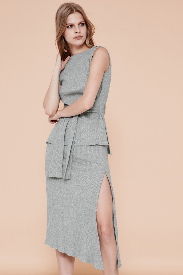 *BRIDGE* Kendall Slit Skirt in Grey