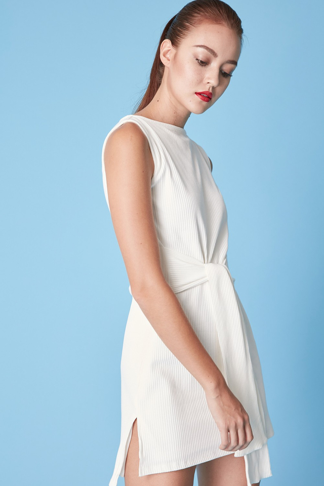 *BRIDGE* Tie Front Dress in White