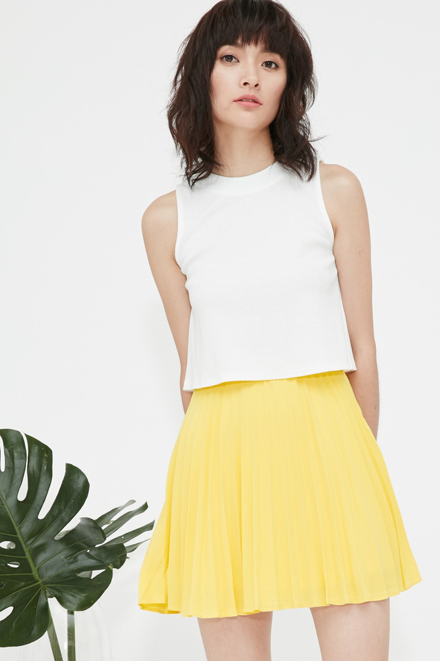 *BRIDGE* Robyn Pleated Skirt in Yellow