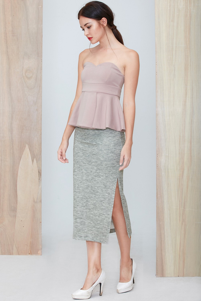 *BRIDGE* Wool Slit Maxi in Light Grey