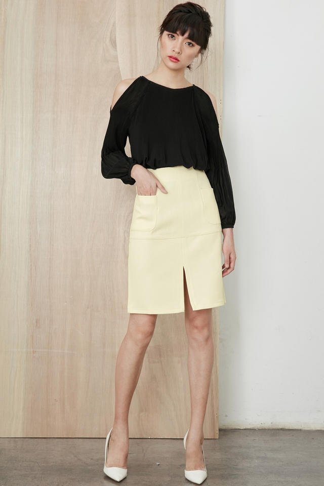 *BRIDGE* Channing A-Line Skirt in Cream