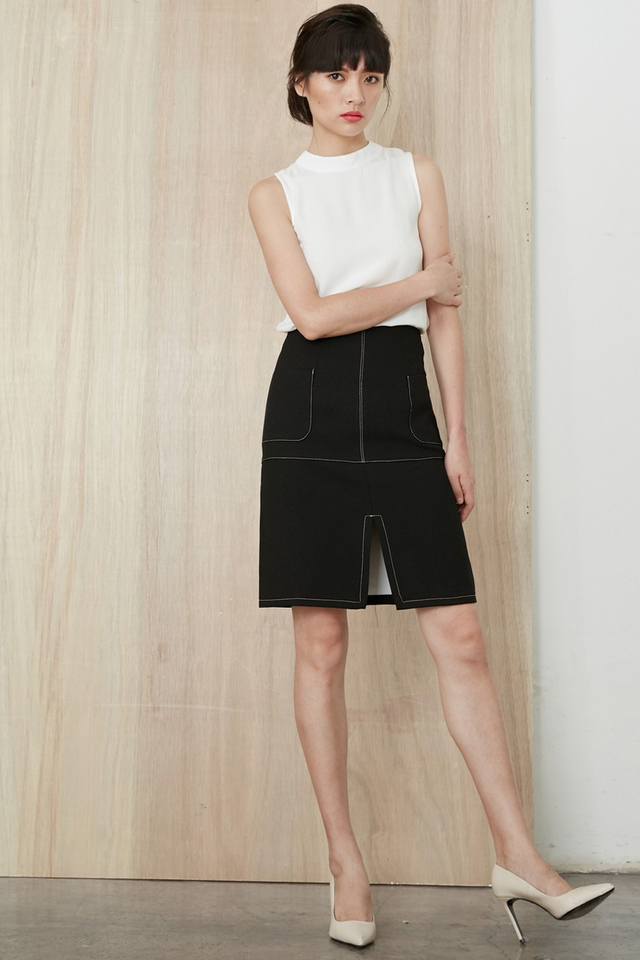 *BRIDGE* Channing A-Line Skirt in Black