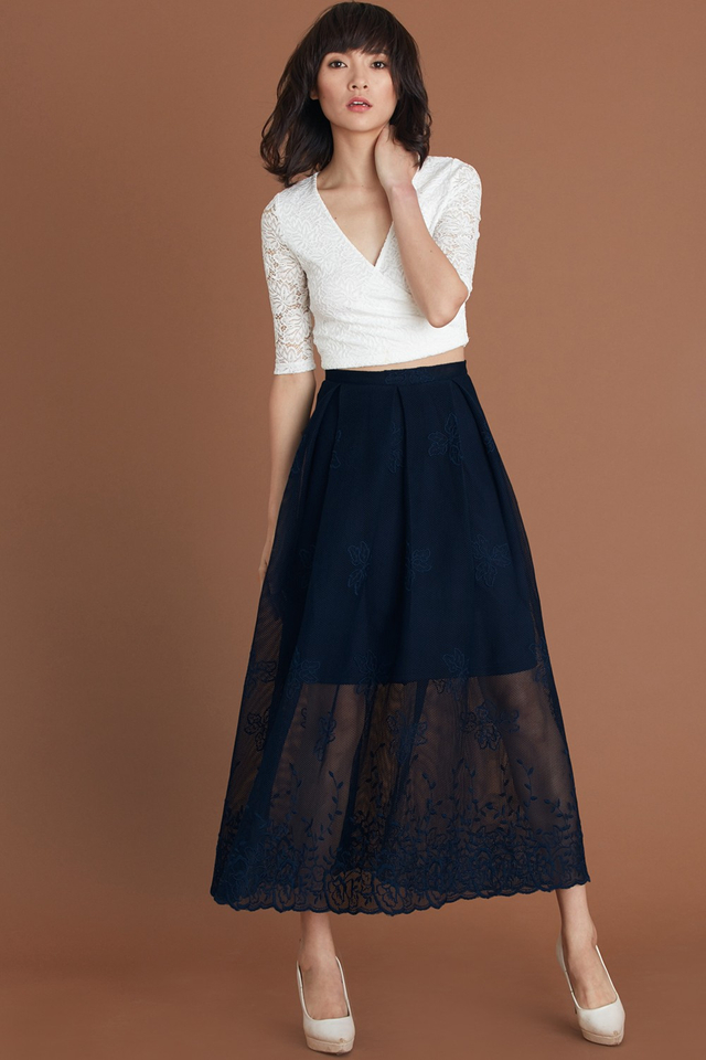 *BRIDGE* Cannes Maxi Skirt in Navy