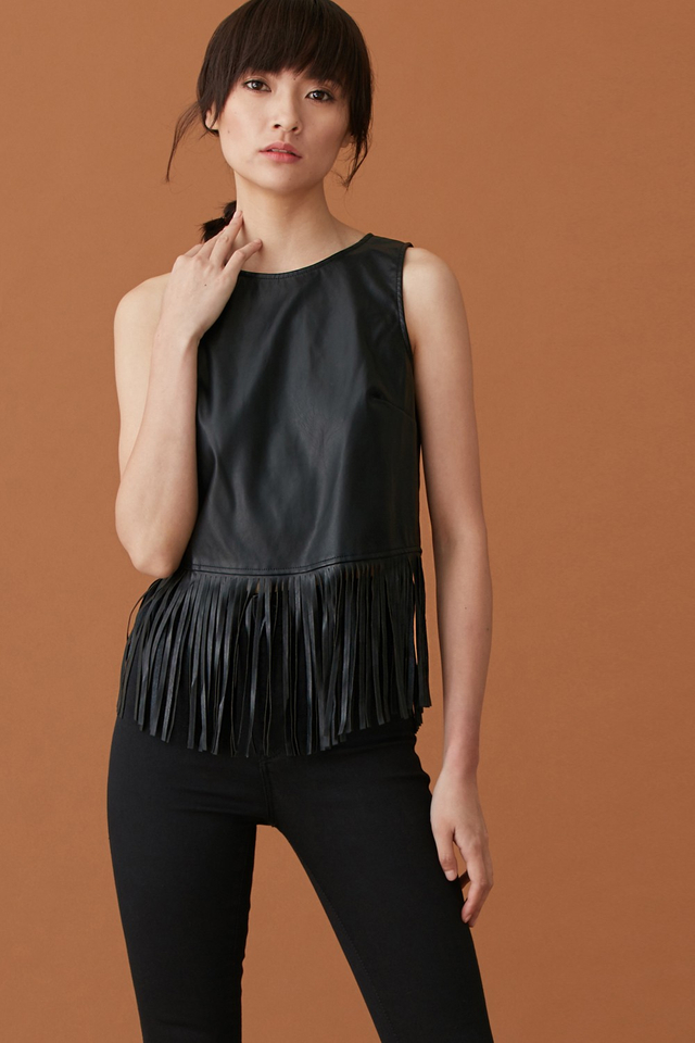 *BRIDGE* Leather Fringe Top in Black