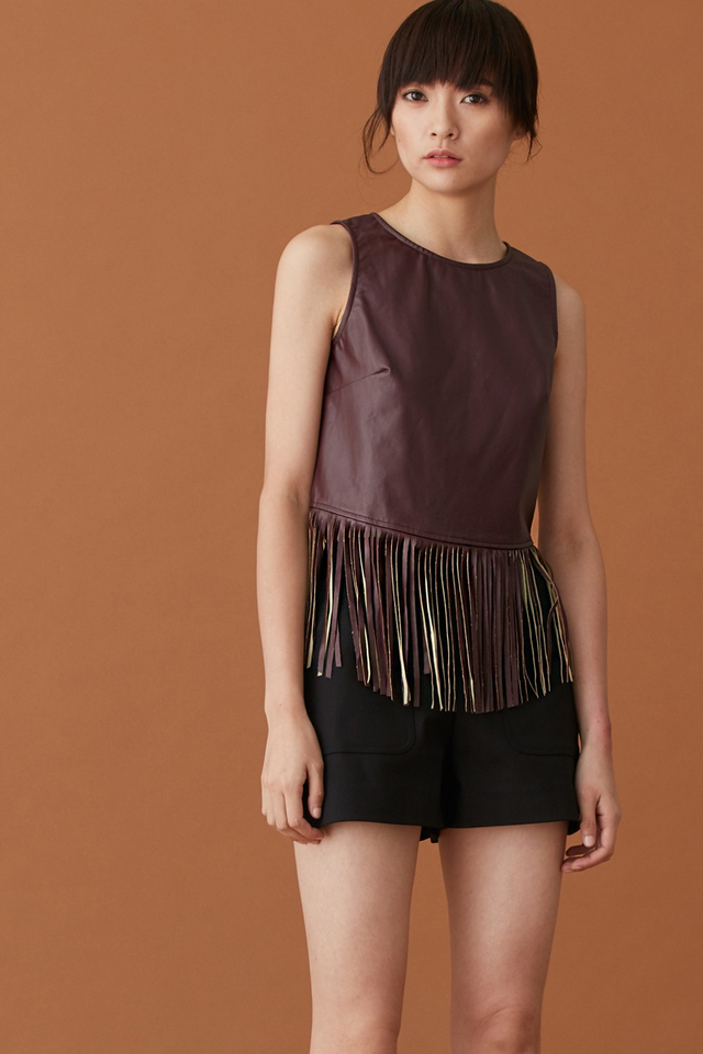 *BRIDGE* Leather Fringe Top in Burgundy