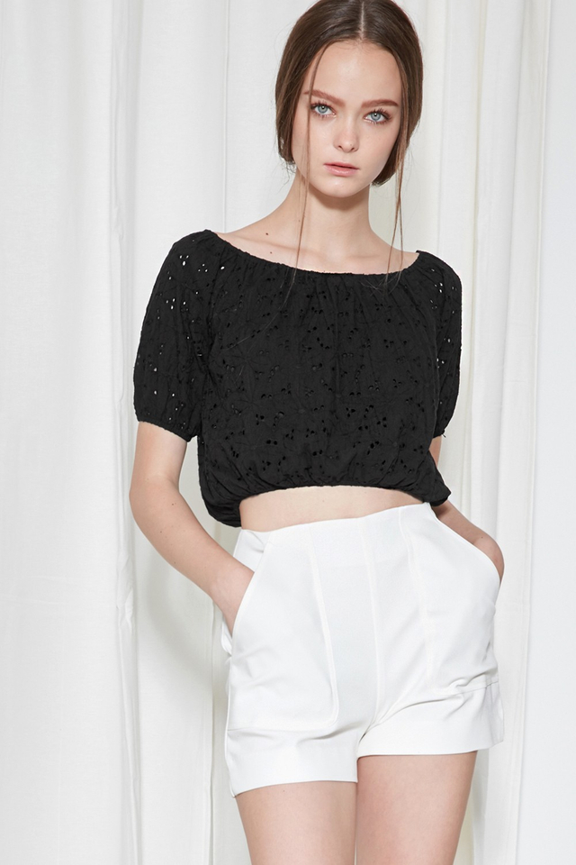 *BRIDGE* Isle Eyelet Off Shoulder in Black