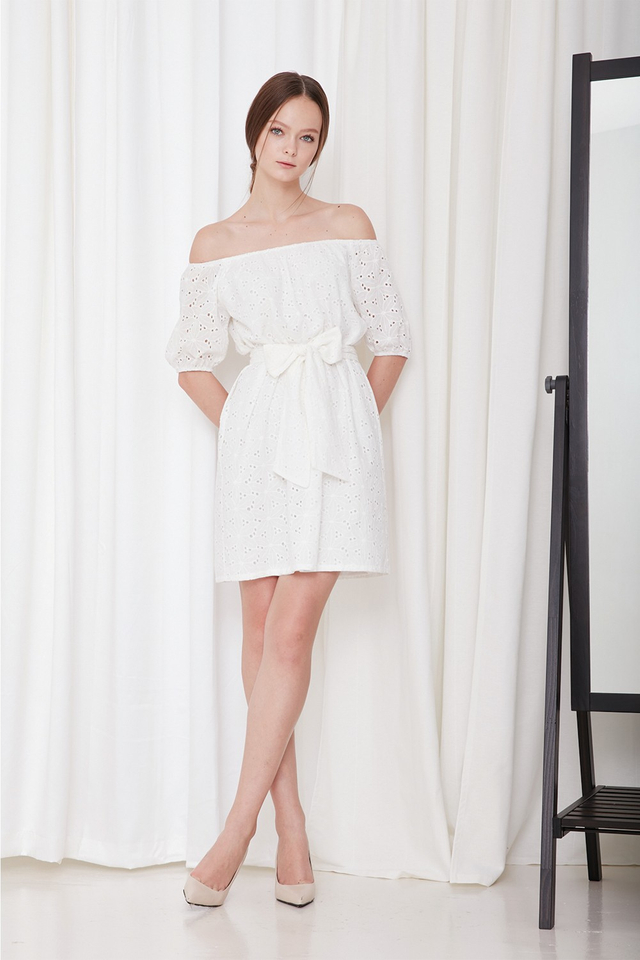 *BRIDGE* Isle Eyelet Dress in White