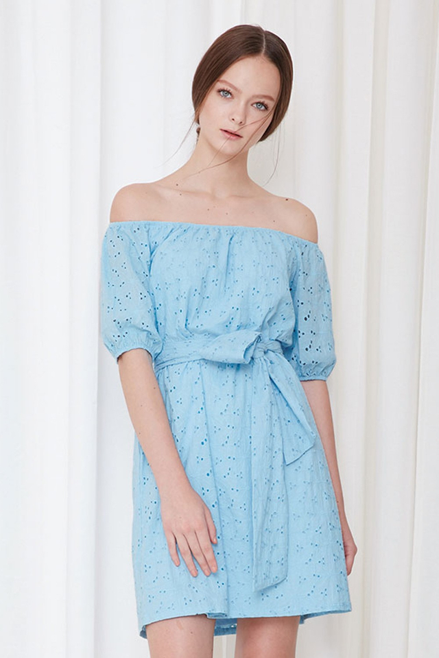 *BRIDGE* Isle Eyelet Dress in Powder Blue