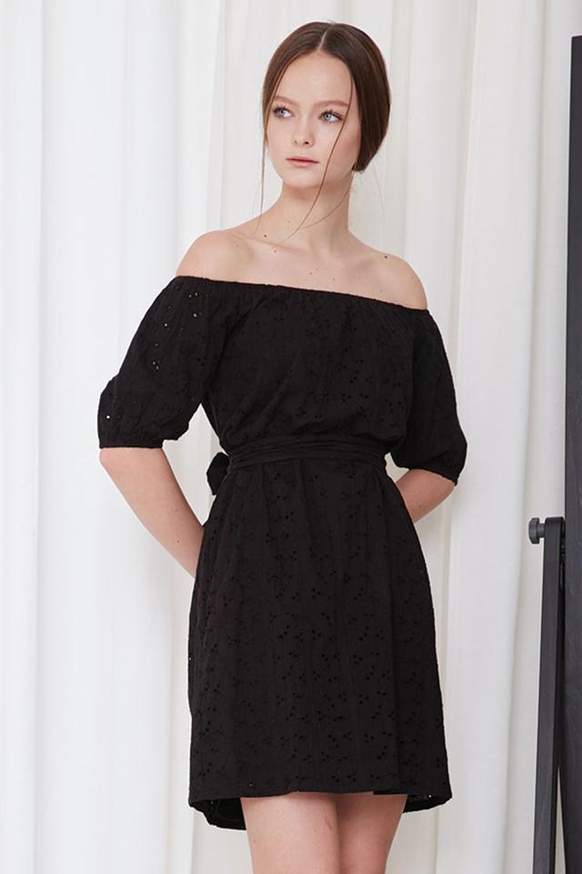 *BRIDGE* Isle Eyelet Dress in Black