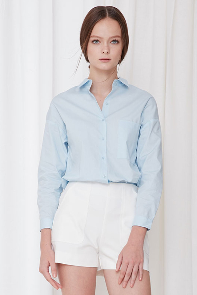 *BRIDGE* Arielle Basic Shirt in Sky Blue