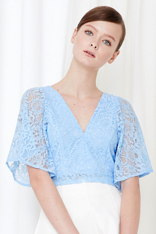 *BRIDGE* Lace Tie Back Top in Powder Blue