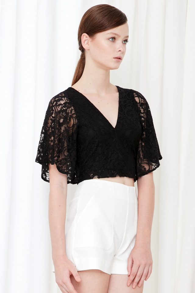 *BRIDGE* Lace Tie Back Top in Black