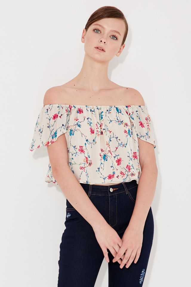 *BRIDGE* Caribbean Off Shoulder Top in Cream