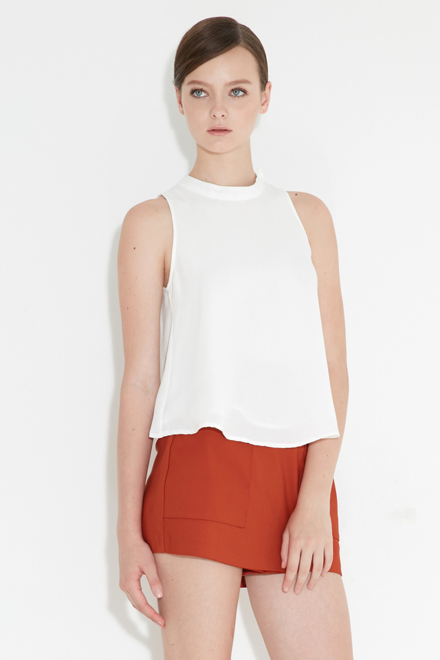 *BRIDGE* Ceri Buckle Top in White