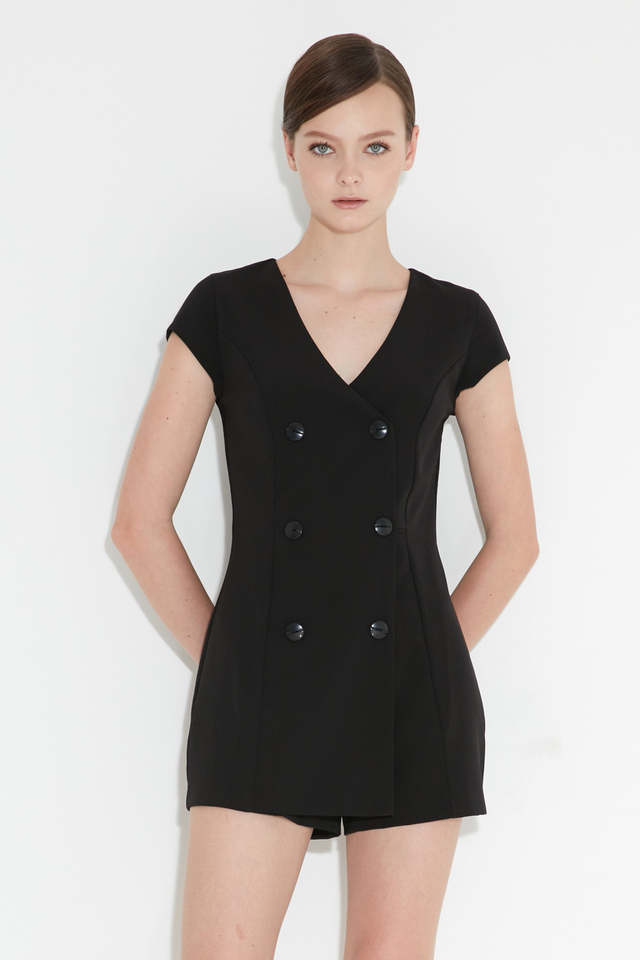 *BRIDGE* Tux Playsuit in Black