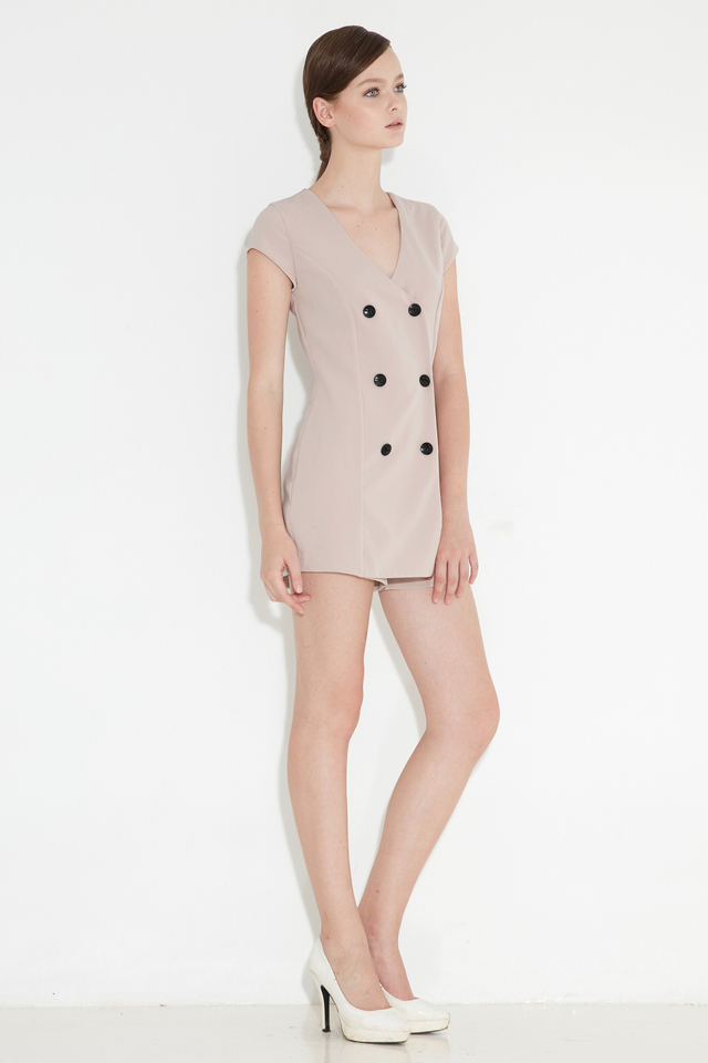 *BRIDGE* Tux Playsuit in Taupe