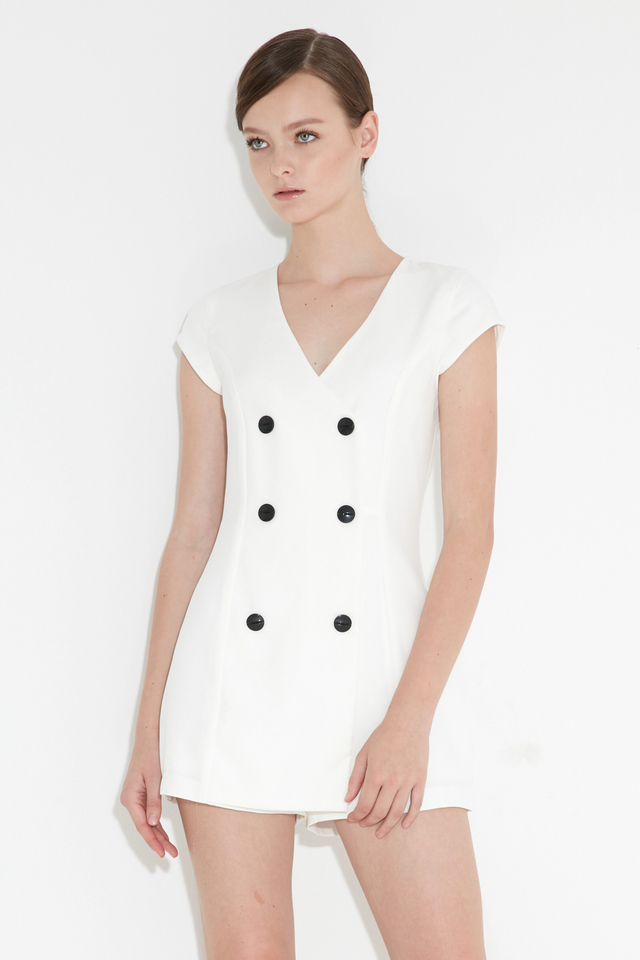 *BRIDGE* Tux Playsuit in White