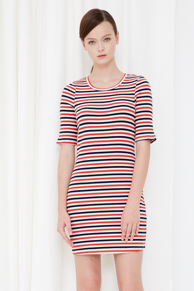 *BRIDGE* Yacht Knitted Dress in Orange Navy