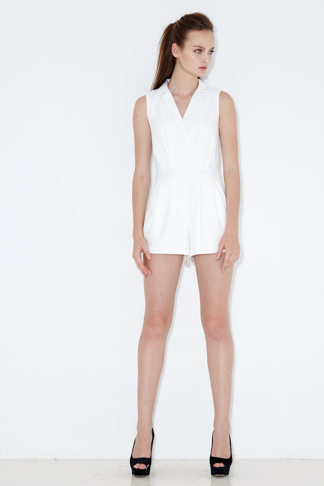 *BRIDGE* Neue Lapel Playsuit in White