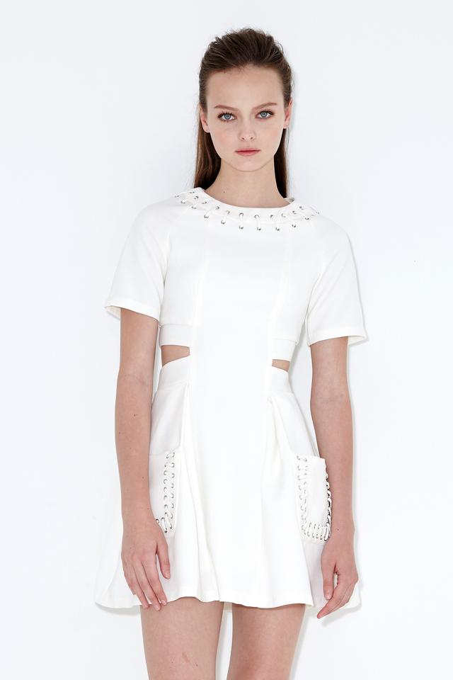*BRIDGE* Savoy Laced Dress in White