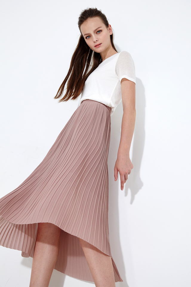 *BRIDGE* High Low Pleat Midi in Dusk Pink