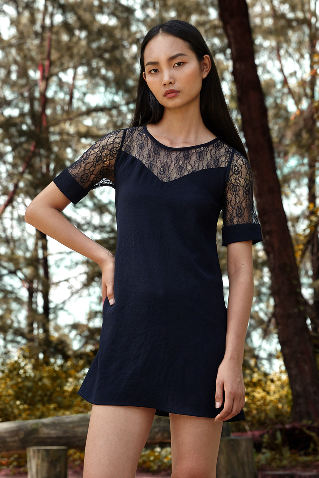 *BRIDGE* Victoria Lace Dress in Navy